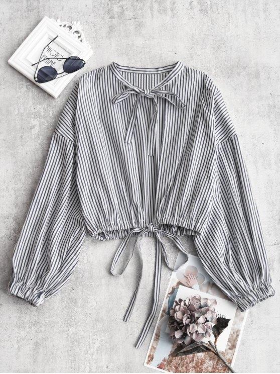 Blusa de corte a rayas con lazo - Raya S