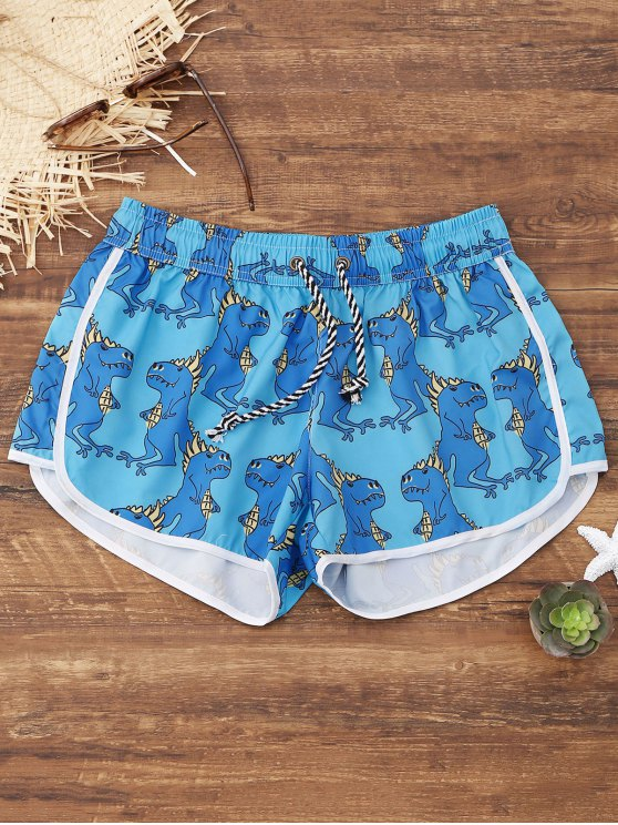 outfit Animals Print Beach Shorts - LIGHT BLUE L