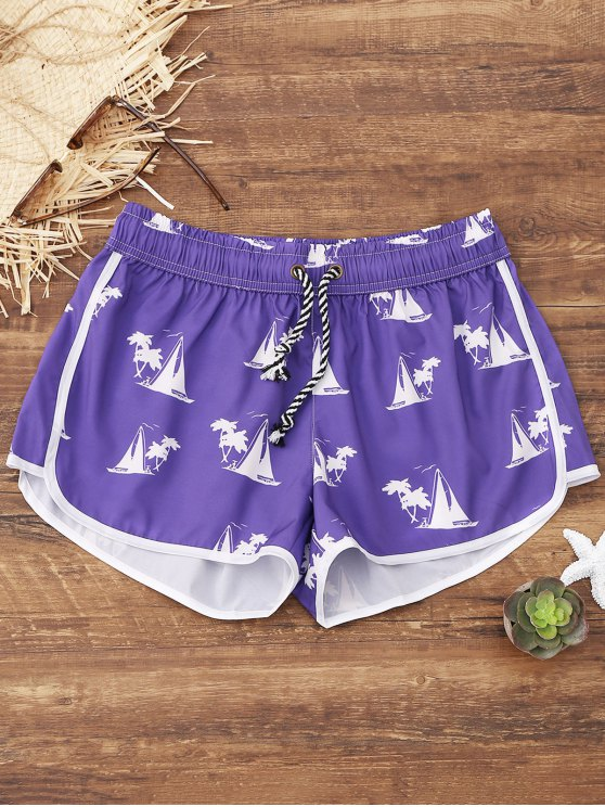 latest Sailboat Print Beach Shorts - PURPLE XL