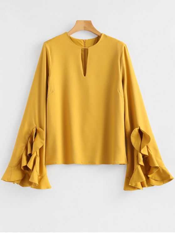 trendy Cut Out Back Zipper Ruffle Blouse - YELLOW S