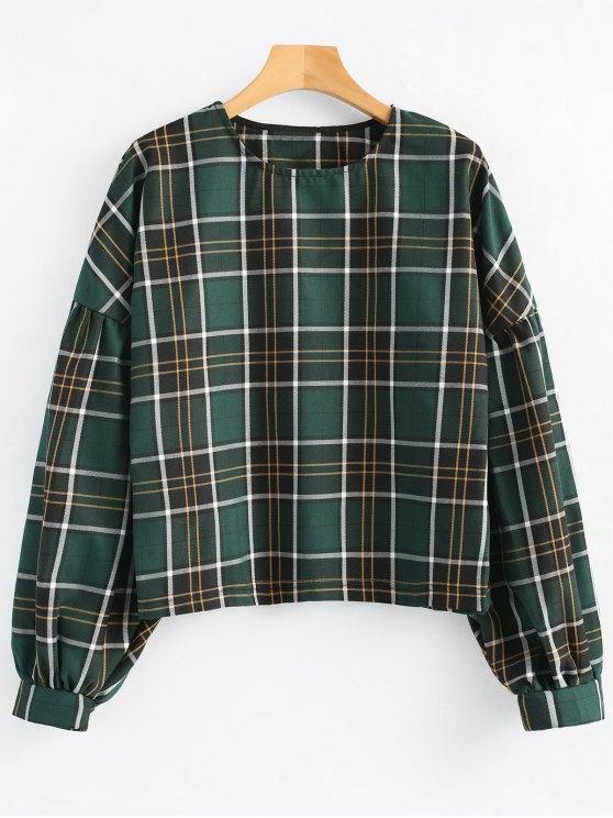 Blusa de manga xadrez manga solta - Verde M