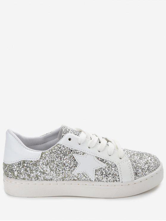 online Star Patch Sequined Sneakers - SILVER 36