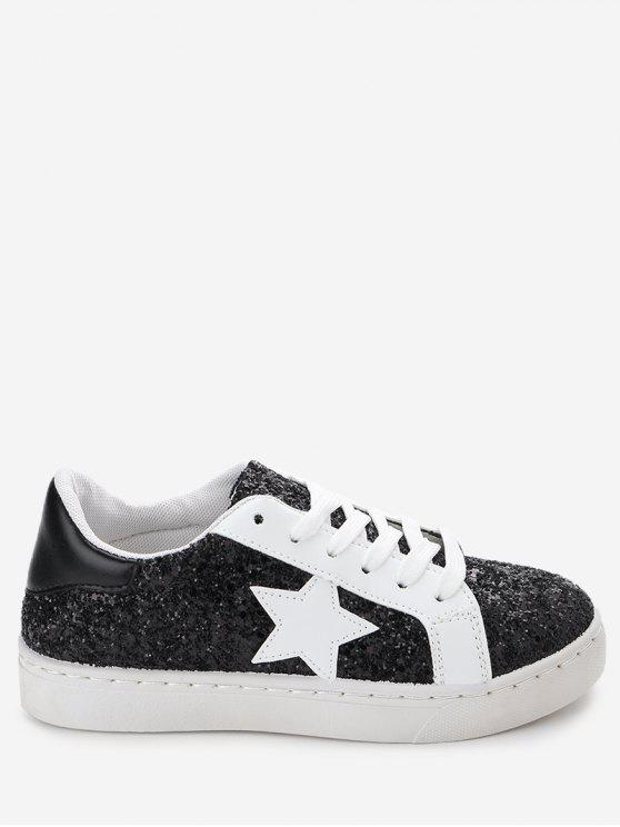 latest Star Patch Sequined Sneakers - BLACK 40