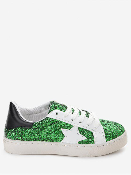 chic Star Patch Sequined Sneakers - GREEN 38