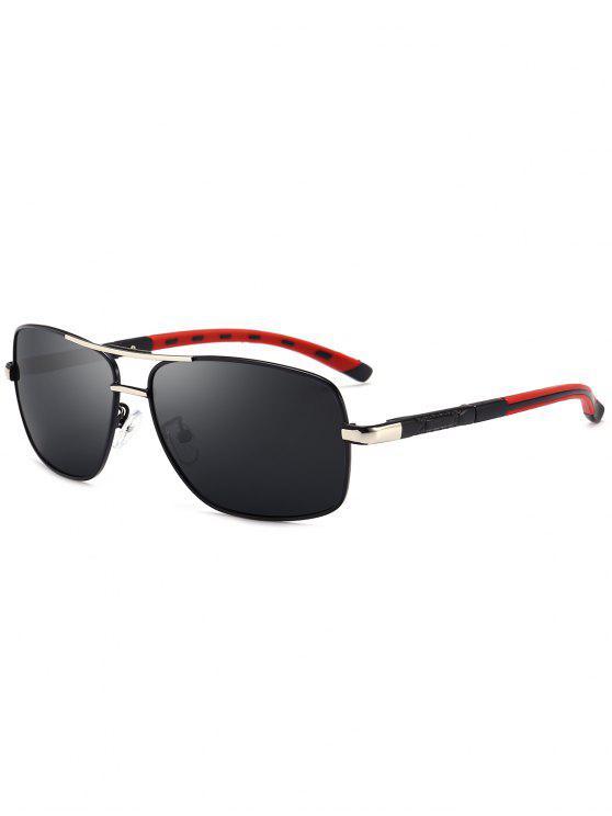 اثنين من النغمات الساق ساحة الطيار النظارات الشمسية - أسود + رمادي