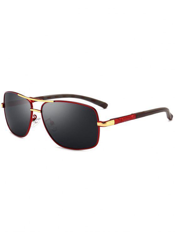 اثنين من النغمات الساق ساحة الطيار النظارات الشمسية - الأحمر والرمادي