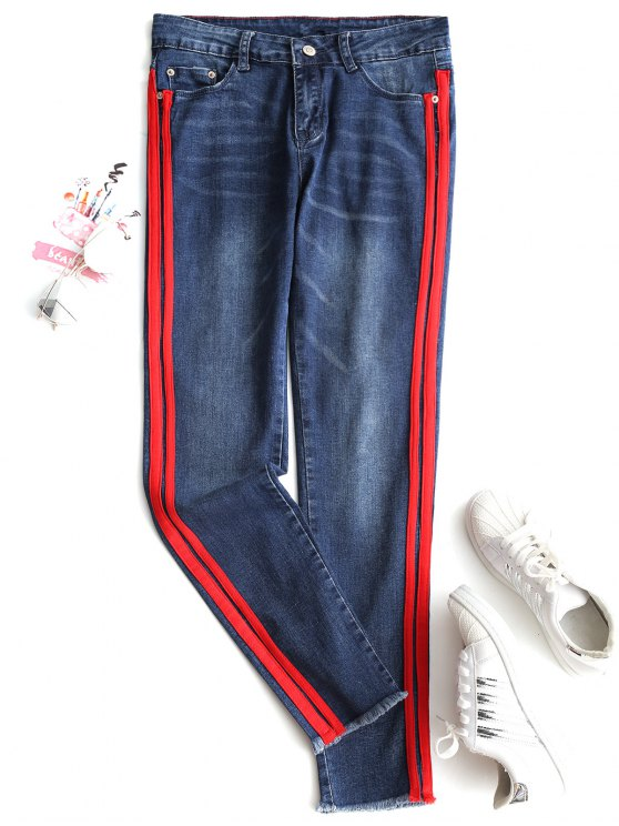 Jeans Aderenti A Nastri Con Bordi Sfilacciati - Blu Denim XL