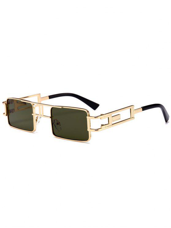 fancy Hollow Out Carver Frame Square Sunglasses - BLACKISH GREEN