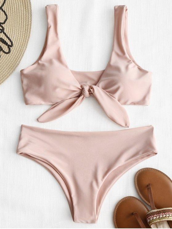 hot Front Knot Padded Bikini Set - PINK S