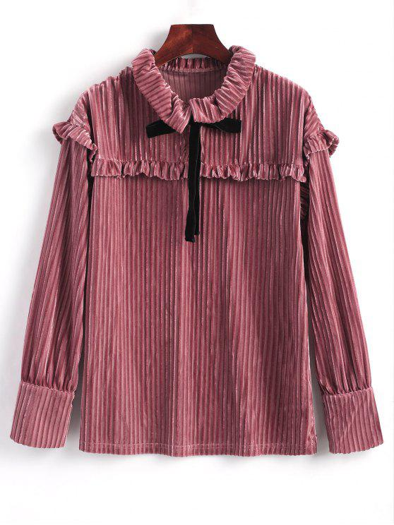 affordable Ruffle Long Sleeve Velvet Blouse - PINKISH BROWN L