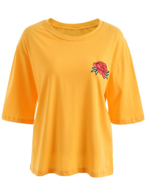 hot Floral Embroidered Plus Size Tee - YELLOW 2XL