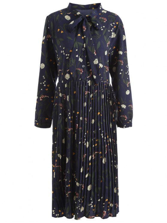 outfit Plus Size Bowtie Floral Pleated Dress - DEEP BLUE 2XL