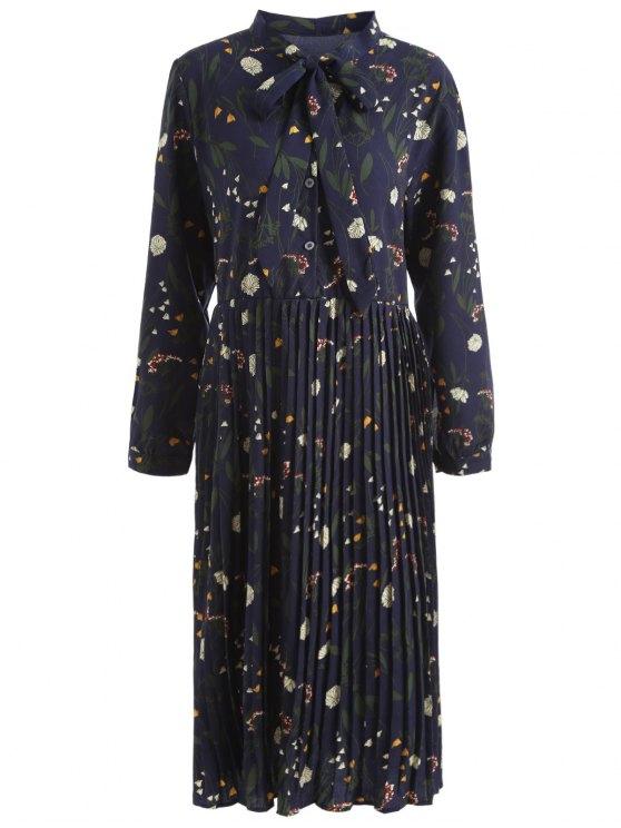 Vestito Plus Size Pieghettato Floreale Con Fiocco - blu scuro 4XL