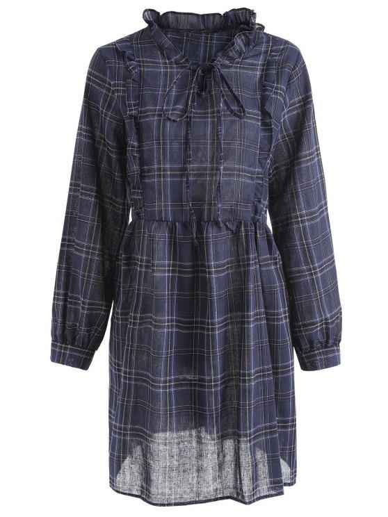 Robe Grande Taille à Volant Et à Carreaux - Bleu 3XL