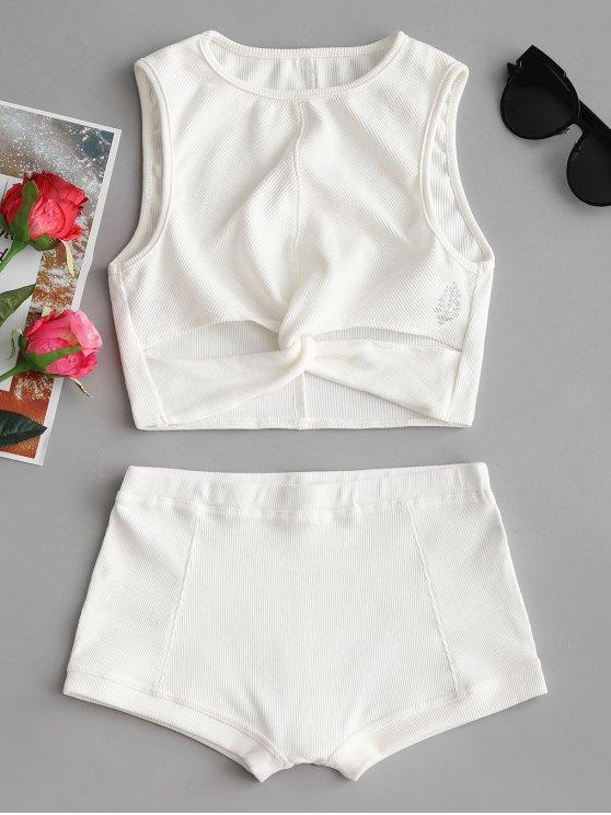 Top de torção impresso e conjunto de calções - Branco M
