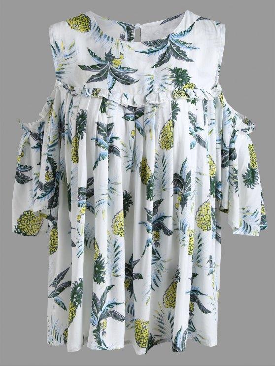 Blusa con hombros descubiertos y frio de Pineapple Plus - Color de Marfil 3XL