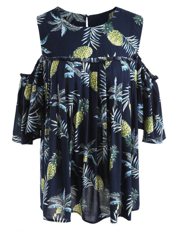 fashion Pineapple Cold Shoulder Plus Size Blouse - PURPLISH BLUE 2XL
