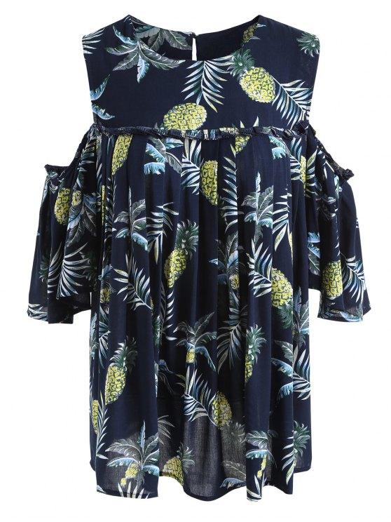 chic Pineapple Cold Shoulder Plus Size Blouse - PURPLISH BLUE 3XL