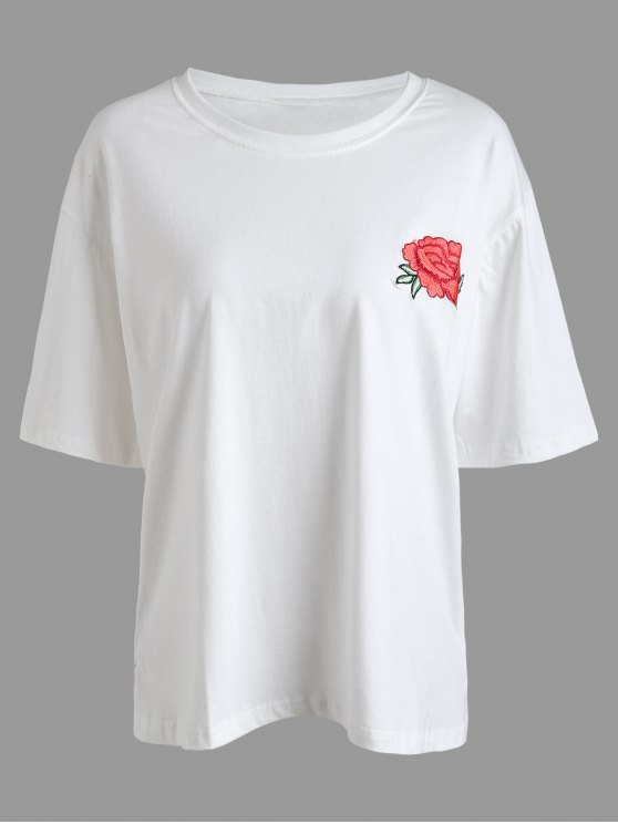 lady Floral Embroidered Plus Size Tee - WHITE 2XL