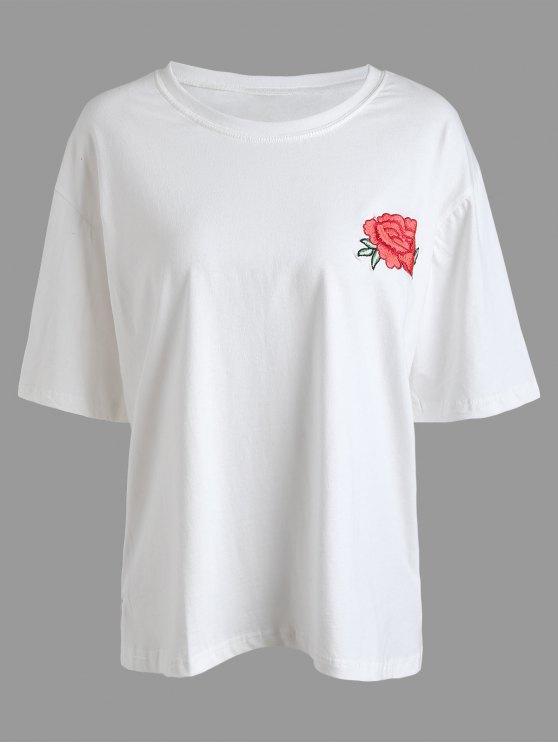 T-shirt Plus Size Con Ricamo Floreale - Bianca 2XL