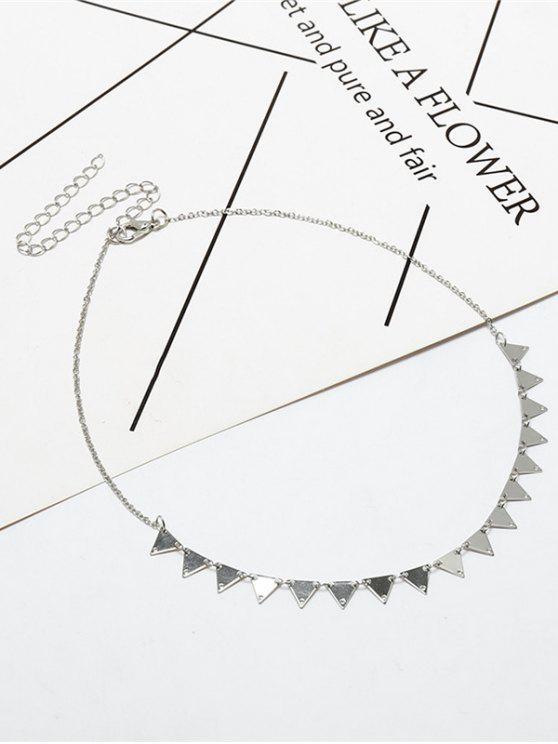 Colar de charme de colarinho de triângulo de metal - Prata
