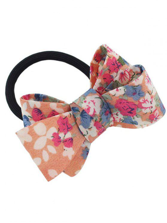 sale Floral Bowknot Embellished Elastic Hair Band - ORANGE