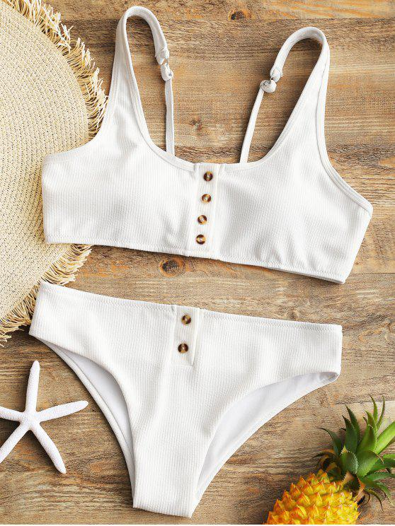 trendy Padded Ribbed Texture Buttons Bikini Set - WHITE L