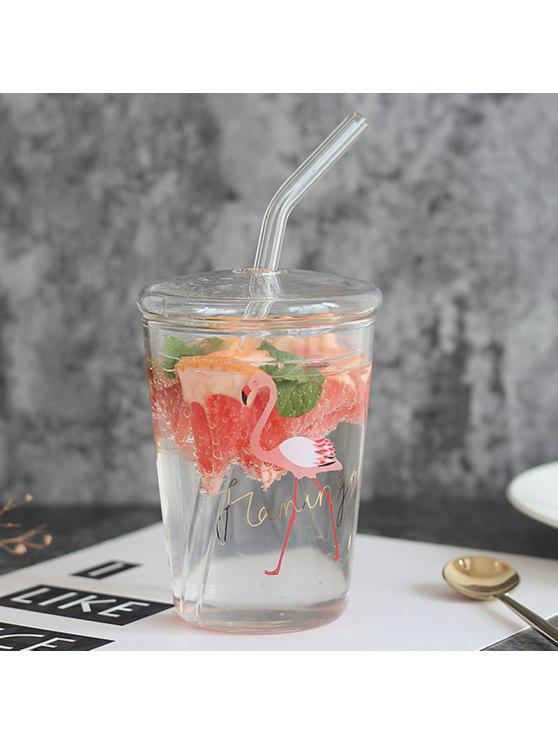 Copo de vidro criativo Flamingo Heat Resistant with Lid Straw - Transparente 350ml