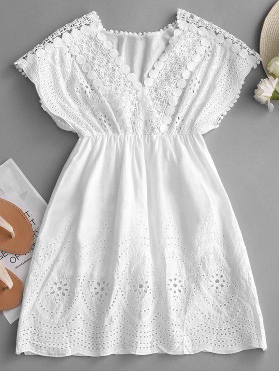 Robe Courte en Crochet à Taille Haute - Blanc Taille Unique