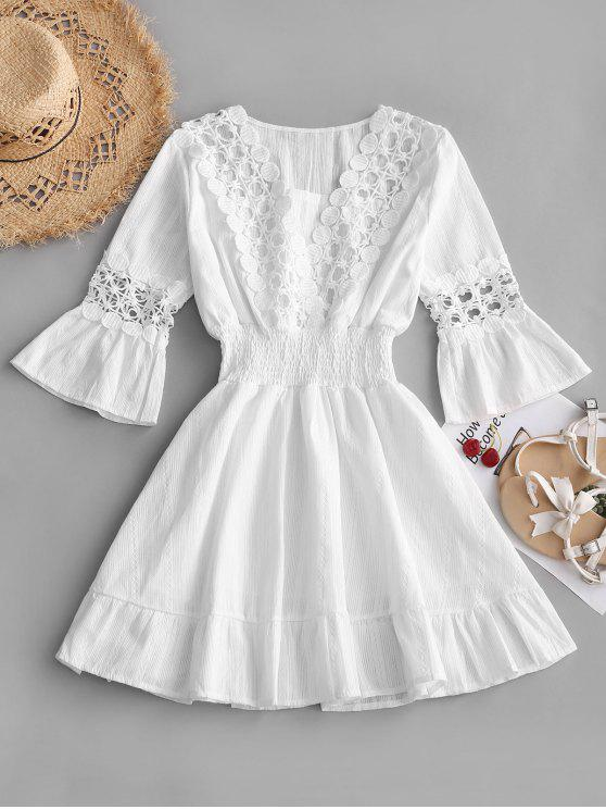 Crochet Panel Smocked Flare Sleeve Dress - Branco M
