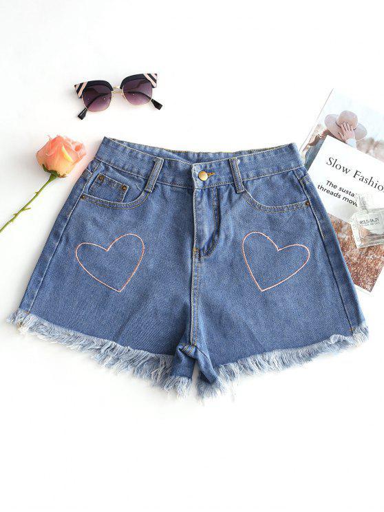 fancy Heart Embroidered Frayed Hem Denim Shorts - DENIM BLUE XL