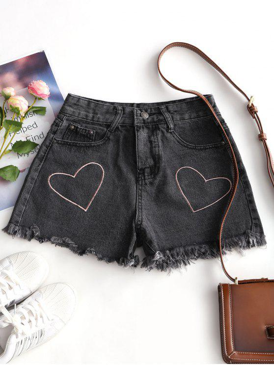 fashion Heart Embroidered Frayed Hem Denim Shorts - DEEP GRAY L