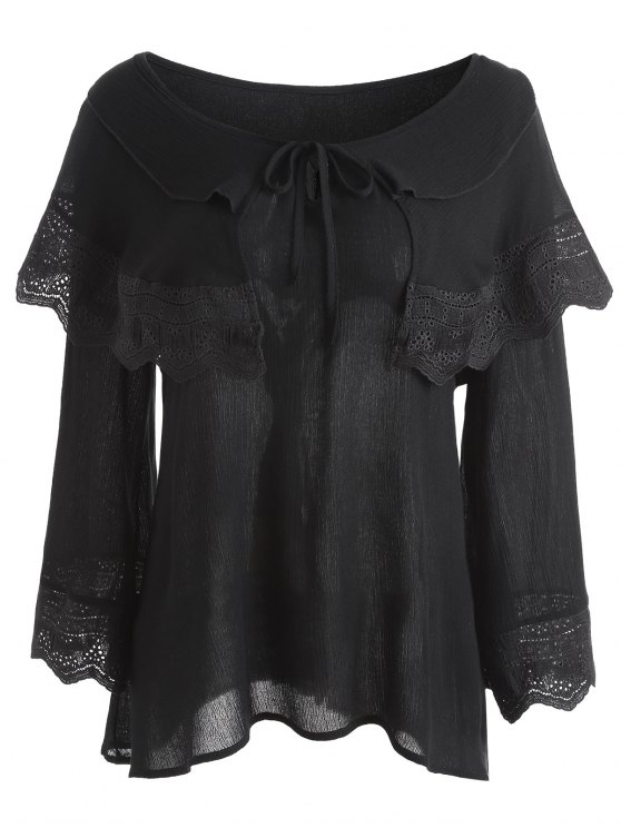 trendy Crinkly Overlay Lacework Insert Plus Size Blouse - BLACK 4XL