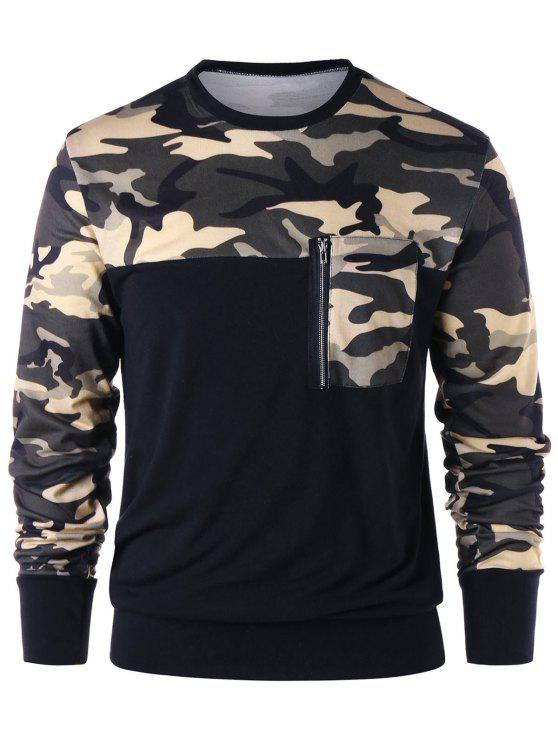 latest Camouflage Zip Pocket Sweatshirt - CAMOUFLAGE 2XL