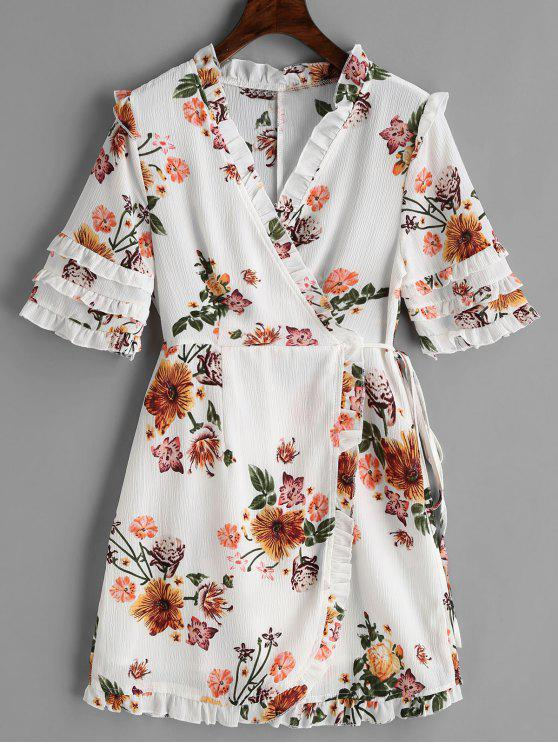 44cfbc3b37 32% OFF  2019 Floral Wrap Frilled Mini Dress In WHITE