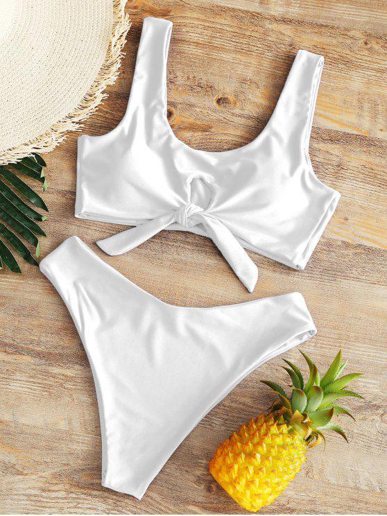 High Rise Bowtie Bikini de pierna alta - Blanco XL