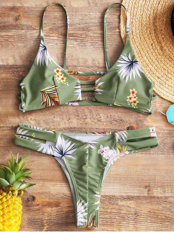 outfits Floral Ladder Cut Out Thong Bikini - LIGHT GREEN M