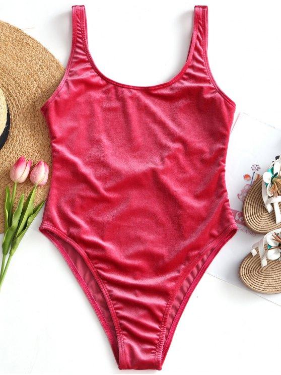 2019 costume da bagno in velluto con taglio alto di rosso m zaful it - Costume da bagno velluto ...