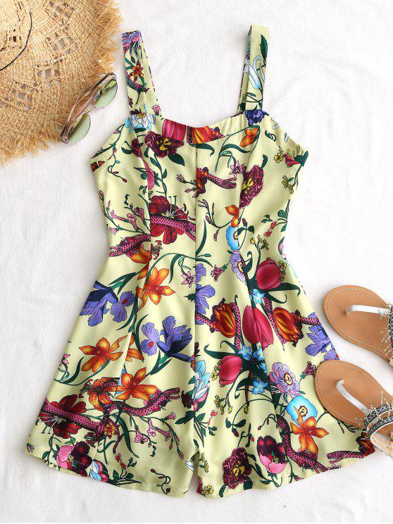chic Floral Criss Criss Back Romper - BLUISH YELLOW L