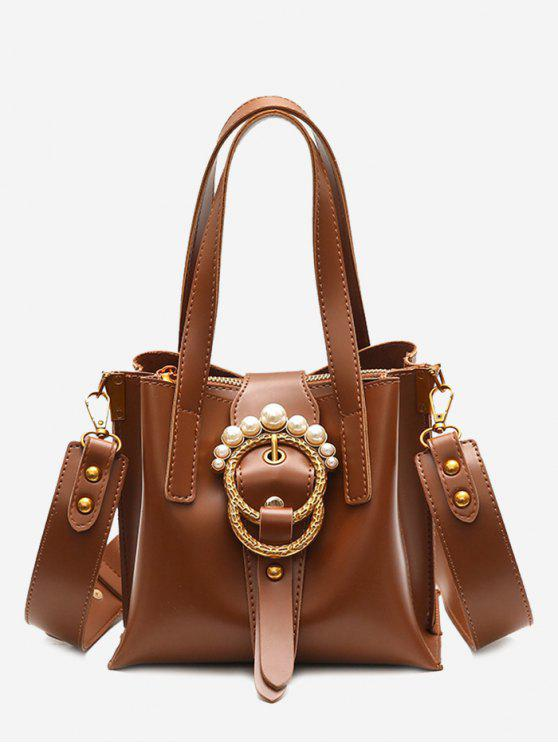 shops Round Buckled Faux Pearl Handbag - BROWN
