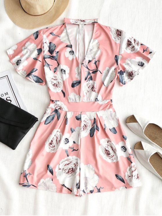 71900e5ffb7 28% OFF  2019 Short Sleeve Floral Choker Romper In PINK