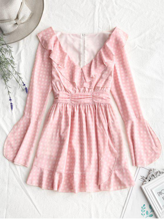 new Plunging Neck Ruffles Mini Checked Dress - PINK L