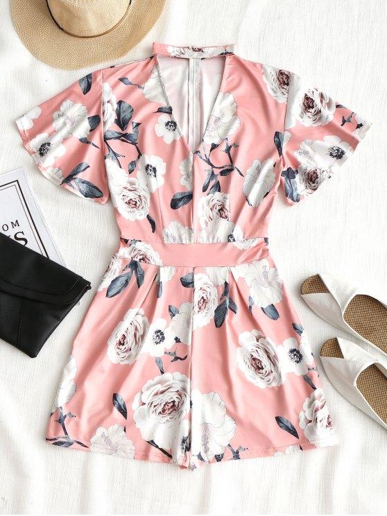 chic Short Sleeve Floral Choker Romper - PINK M