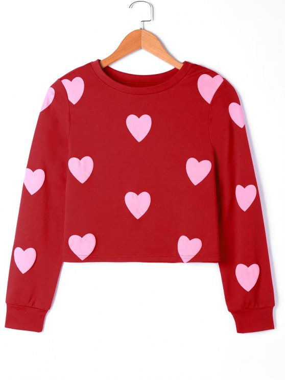 sale Hearts Graphic Sweatshirt - PINK L