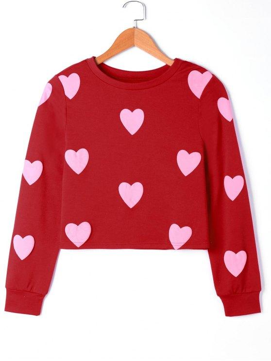 Herz Grafik Sweatshirt - Rosa XL