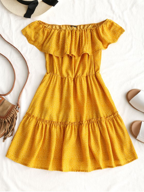 best Polka Dot Ruffle Off Shoulder Mini Dress - YELLOW S