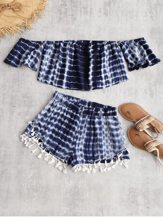 affordable Tie Dye Off The Shoulder Top and Tassel Shorts - DEEP BLUE S