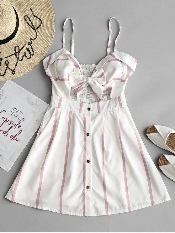 Tie Stripes Cut Out Mini Dress - Listras L