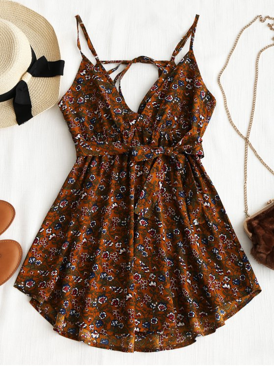 unique Belted Floral Drawstring Mini Dress - BROWN XL