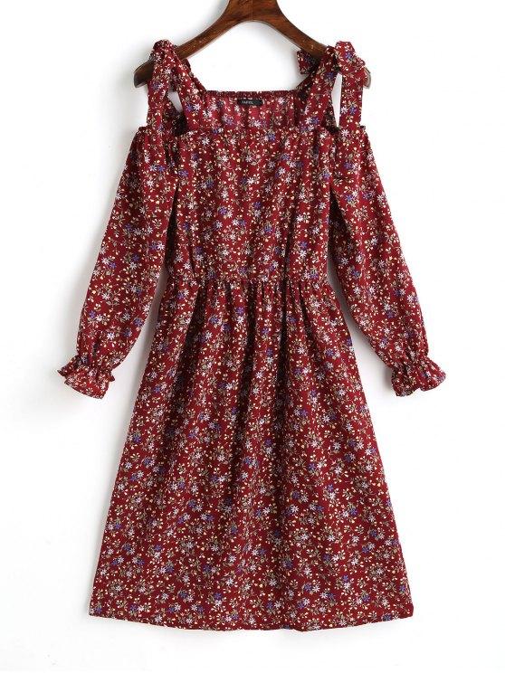 fashion Tiny Floral Cold Shoulder Mini Dress - DARK RED M